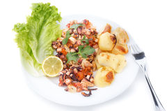 Dish of octopus with spices and baked potato. Royalty Free Stock Photography
