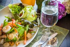 Free Dish Of Thai Style Salad With Cutlery, Glass Of Water Royalty Free Stock Photos - 102905968