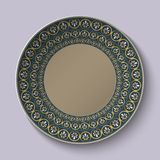 Dish with ornament stylized the ancient Roman pattern. Royalty Free Stock Photo