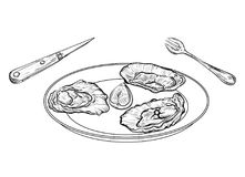 Dish with oysters and cutlery. Engraved style. Isolated on white background. Vector illustration Royalty Free Stock Photos