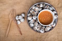 Parboiled cockle shells with spicy dip sauce. A dish of parboiled cockle shells with spicy dip sauce Royalty Free Stock Photo
