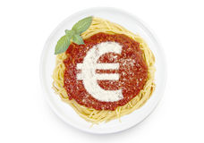 Dish of pasta with parmesan cheese in the shape of an euro symbol Stock Photography