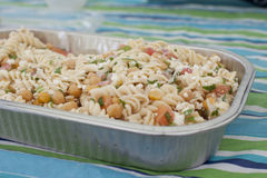 A dish of pasta salad in summer Stock Photo