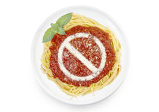Dish of pasta with tomato sauce and parmesan cheese in the shape Stock Photography