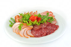 Dish with pastrami and salami slices on white. Stock Image