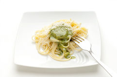 Dish of pesto pasta Stock Photos