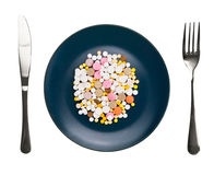Dish with pills Royalty Free Stock Photography