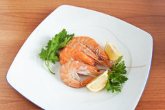 Dish with prawns Stock Photos