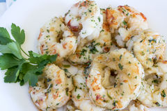 Dish with prawns and prawns with garlic Stock Photos