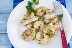 Dish with prawns and prawns with garlic Royalty Free Stock Photo