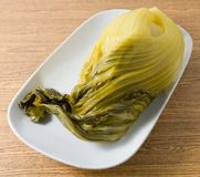 Dish of A Preserved Green Chinese Cabbage Stock Photo