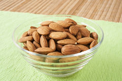 Dish of Raw Almonds Royalty Free Stock Image