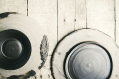 Dish raw ceramic (Do not burn)on wood background Royalty Free Stock Photography