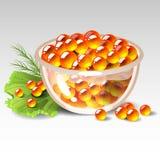 Dish with red caviar Stock Photos