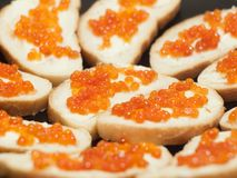 Dish with red caviare sandwiches. Sandwiches with butter and red caviar. Selective focus on the center Stock Photography
