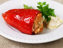 A dish of red peppers with greenstuff. A dish of red peppers with green stuff and sauce Royalty Free Stock Photo