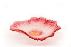 Plate. A red petal shape fruit glass plate Stock Photos