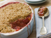 Dish of Rhubarb and Blood Orange Crumble stock image
