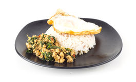 Dish of rice - egg and stir fried chiicken with basil Stock Photo