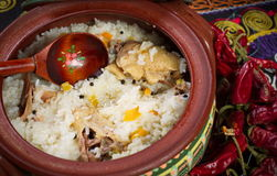 Dish of rice with meat. Royalty Free Stock Photo