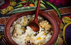 Dish of rice with meat. Stock Images