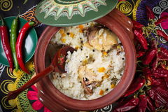 Dish of rice with meat. Stock Photo