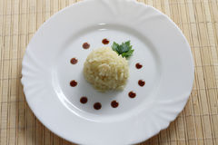 Dish of rice on a plate Royalty Free Stock Photography