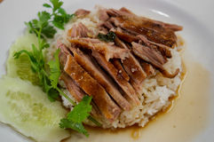 Dish of rice with roast duck Royalty Free Stock Images