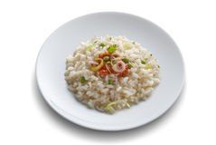 Dish with rice salad with shrimp and tomato Stock Images