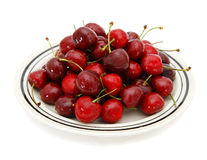 Dish with ripe cherries Royalty Free Stock Image