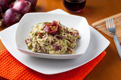 Dish of risotto with asparagus and bresaola Royalty Free Stock Images
