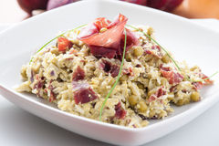 Dish of risotto with asparagus and bresaola Royalty Free Stock Photography
