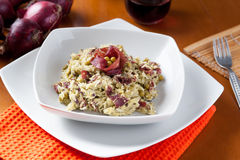 Dish of risotto with asparagus and bresaola Stock Photo