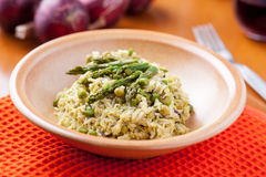 Dish of risotto with asparagus Stock Images