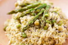 Dish of risotto with asparagus Stock Image