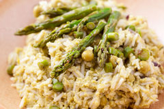 Dish of risotto with asparagus Stock Photo