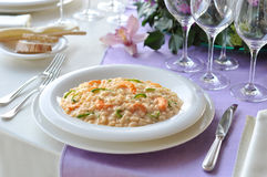 Dish of Risotto with Prawns and Zucchini Royalty Free Stock Photography