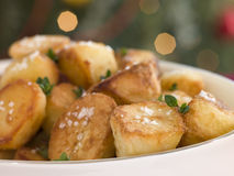 Dish of Roast Potatoes with Sea Salt Stock Photography