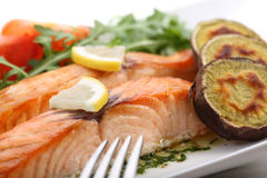 Dish of roasted salmon with sweet potatoes Stock Photos