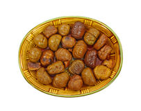Dish Roasted Whole Chestnuts Stock Images