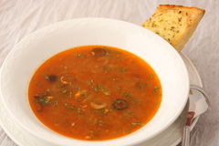 Dish of russian hodgepodge soup in ceramic pot. Royalty Free Stock Image