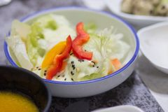 A dish of salad among other korean side dishes. The salad consist of capsicum and cabbage. The salad is one of the side dishes served in the table royalty free stock image