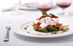 Dish with salad ruccola and cheese a Burrata. Dish with tomatoes, salad ruccola and cheese a Burrata stock photography