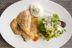 Dish with salmon and salad in Norway. Dish with salmon and salad at Nyksund in Norway royalty free stock photo