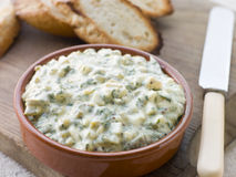 Dish of Sauce Gribiche with Toasted Baguette Royalty Free Stock Photography