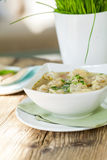 Dish of savory pork tortellini in broth pelmeni russian Stock Photos