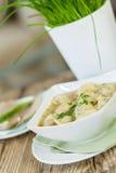 Dish of savory pork tortellini in broth pelmeni russian Stock Image