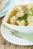 Dish of savory pork tortellini in broth pelmeni russian Royalty Free Stock Images