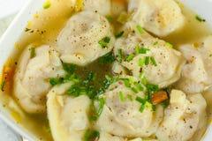 Dish of savory pork tortellini in broth pelmeni russian Royalty Free Stock Photo
