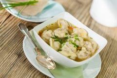 Dish of savory pork tortellini in broth pelmeni russian Royalty Free Stock Image
